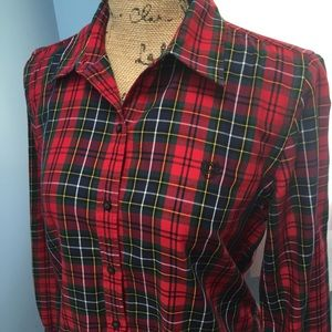CHAPS Classic Red Plaid Button Down Shirt